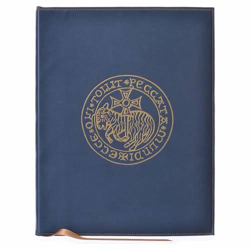 Folder for sacred rites in bleu leather, hot pressed golden lamb Bethleem, A4 size s1