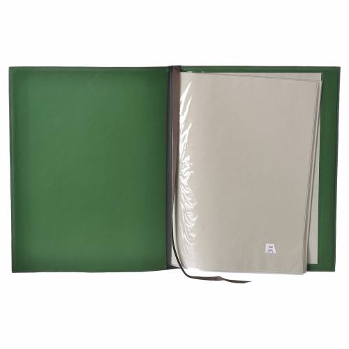 Folder for sacred rites in green leather, hot pressed golden lamb Bethleem, A4 size s3