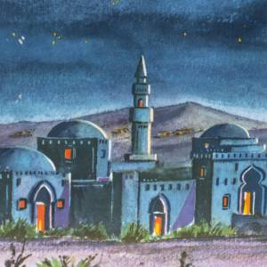 Fondos y pavimentos: Fondo tríptico en madera, con paisaje árabe 34x102
