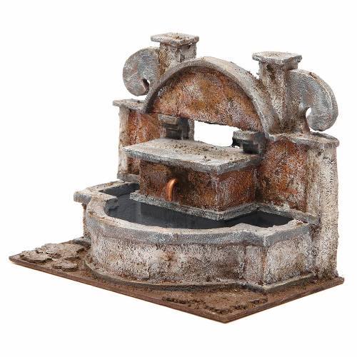 Fontana presepe rustica con grande vasca 20x25x15 cm s2