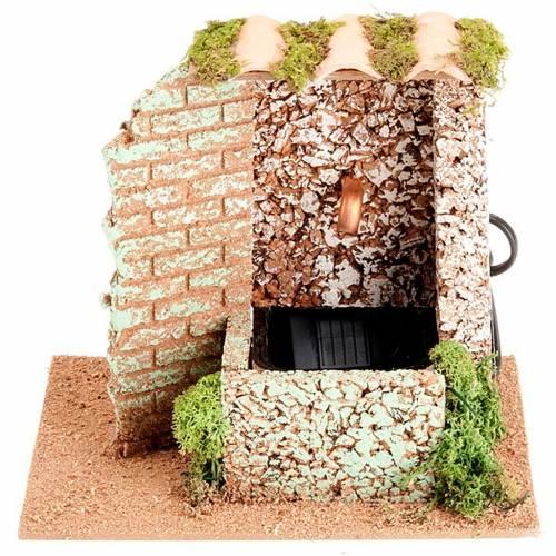 Fuente con techo de tejas para pesebre, eléctrico 2V s1