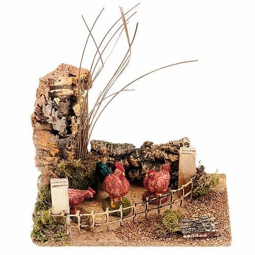 Galline e piante con staccionata ambientazione 8-10 cm s1
