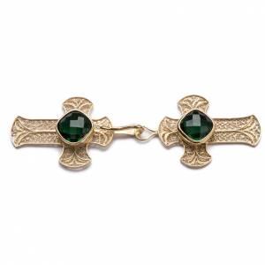 Gancio piviale filigrana argento 800 croce agata verde s1