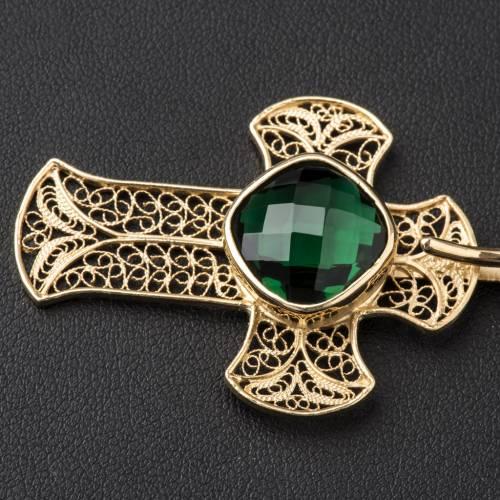 Gancio piviale filigrana argento 800 croce agata verde s2