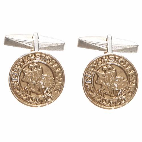Gemelli per camicia argento 800 dor Sigillum Militum Xpisti 1,6 cm s3