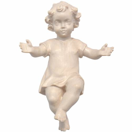 Gesù Bambino vestito legno Valgardena naturale cerato s1