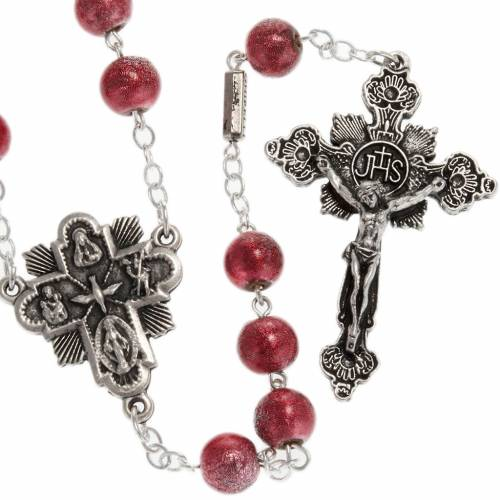 Ghirelli red rosary Holy Spirit, opaque 8 mm s1
