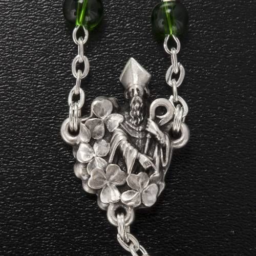 Ghirelli rosary, green glass, St. Patrick 6mm s4