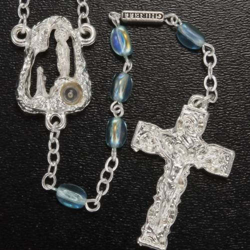 Ghirelli rosary Lourdes Grotto, light blue 6x4mm s2