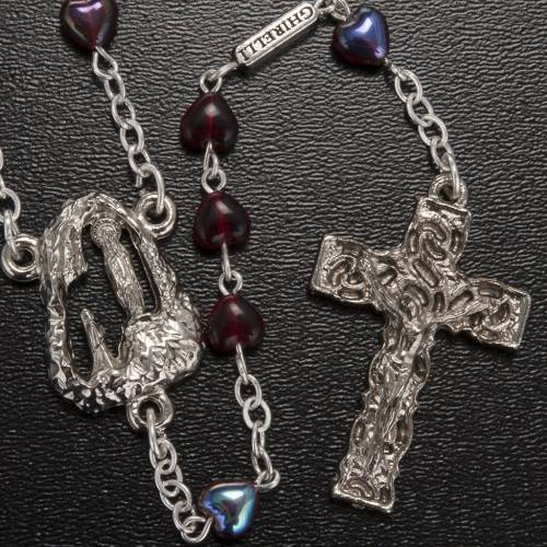 Ghirelli rosary Lourdes with ruby heart shaped beads s2