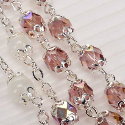 Ghirelli rosary pink and mother-of-pearl beads s3