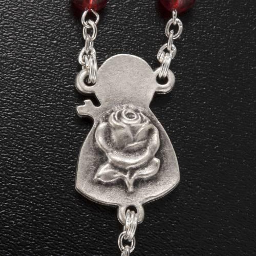Ghirelli rosary Saint Thérèse of Lisieux red glass s6