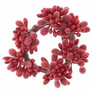 Decori natalizi per la casa: Girocandela di Natale rosso con bacche pigne candele 4 cm