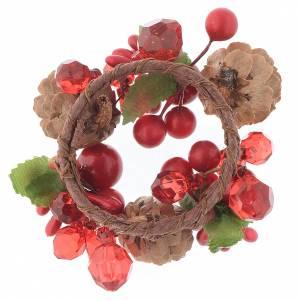 Girocandela di Natale rosso con bacche pino candele 4 cm s2