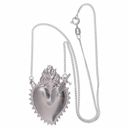 Girocollo argento 925 con cuore votivo con spada s3