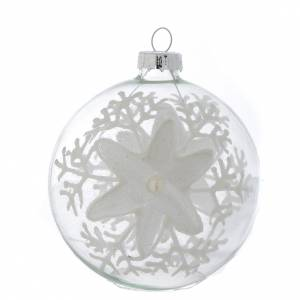 Christmas balls: Glass Christmas bauble, transparent with white decoration, 80mm diameter