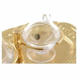 Glass cruets with gold-plated brass tray s4