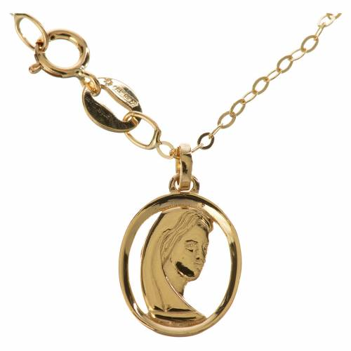 Gold chain with Virgin Mary pendant in 18k gold 1,74 grams s1