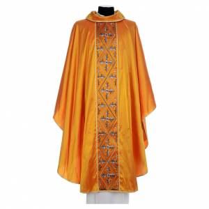 Chasubles: Gold chasuble 100% silk crosses orphrey