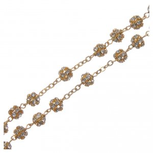 Gold rosary with strass crystal grains 6 mm s3