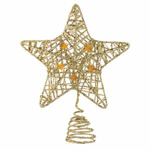 Christmas tree ornaments in wood and pvc: Golden Christmas Tree topper with glitter star