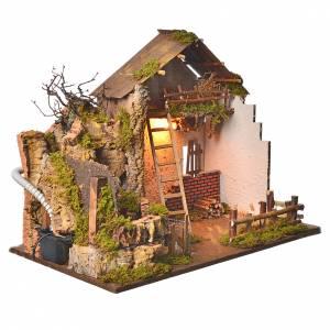 Grange avec lumière et moulin 43x60x34 cm s3
