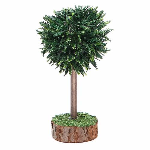 Green tree for nativity scene in PVC and wood s1