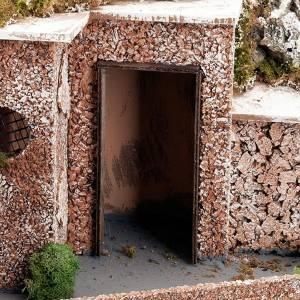 Krippe Hütten und Grotten: Grotte Krippe Ortschaft, Brunnen und Treppe 60x40x50