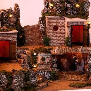 Krippe Hütten und Grotten: Grotte Krippe und Ortschaft mit Haeuser 60x40x50