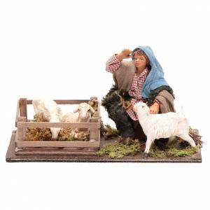 Belén napolitano: Guardián de ovejas con cerca 10 cm Belén napolitano