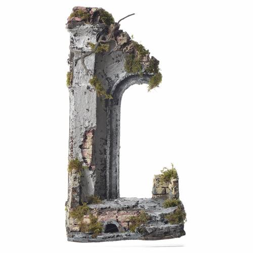 Half arch with temple for nativities, 30x15x12cm s1