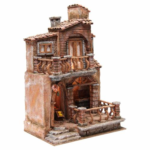 Hamlet with hut for nativity with accessories 40x30x20cm s3