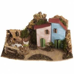Krippentiere: Haus mit Hühnerstall aus Holz 4cm