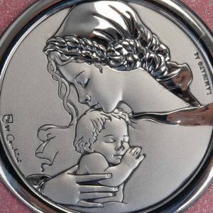 Medals and decorations for cradle: Heart, cradle decoration with musical box Our Lady and baby