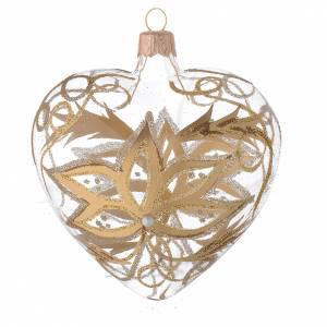 Heart Shaped Bauble in blown glass with gold flower 100mm s2