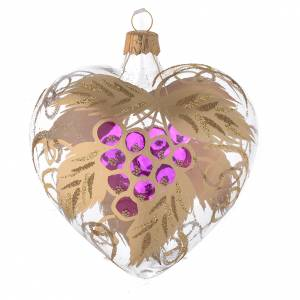 Heart Shaped Bauble in blown glass with grape decoration in relief 100mm s2