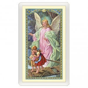 Holy cards: Holy card, Guardian Angel, Angel of God ITA 10x5 cm