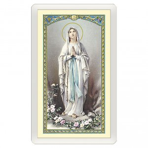 Holy cards: Holy card, Our Lady of Lourdes, Novena to Our Lady of Lourdes ITA 10x5 cm