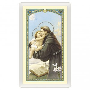 Holy cards: Holy card, Saint Anthony of Padua, Prayer against Temptation ITA 10x5 cm