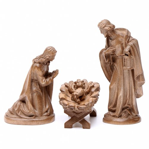 Holy Family for nativities in patinated Valgardena wood s1