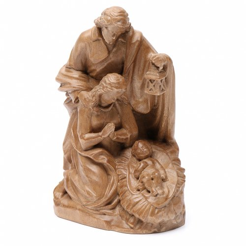 Holy Family group statue in Valgardena wood, patinated finish s2