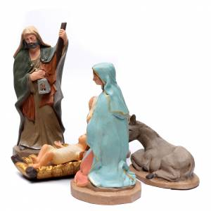 Terracotta Nativity Scene figurines from Deruta: Holy Family in painted clay 50cm