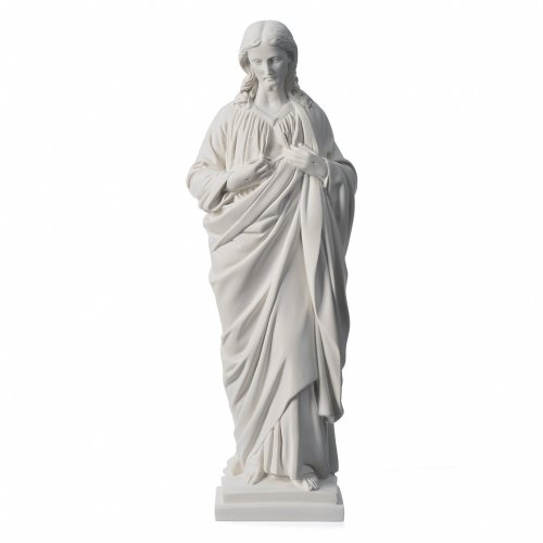 Holy Heart of Jesus in Reconstituted Carrara Marble, 50 cm s1