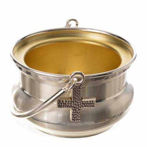 Holy water pot in silver-plated brass s1
