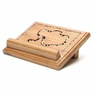 Medjugorje Kreuze und Magneten: Holz Tischpult mit Rosenkranz
