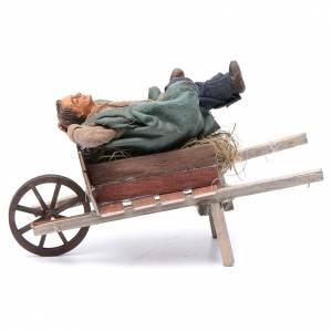 Crèche Napolitaine: Homme endormi dans une brouette 10 cm crèche de Naples