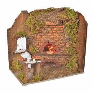 Hornos y fogatas para el belén: Horno con efecto fuego 20 x 14 cm. con pizzas
