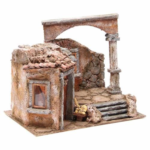 House with roman column and hut for nativity 35x35x25cm s3