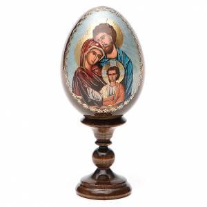 Huevos rusos pintados: Huevo ruso de madera découpage Sagrada Familia altura total 13 cm estilo Fabergé