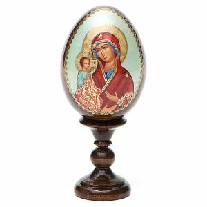 Huevos rusos pintados: Huevo ruso de madera découpage Virgen de las Tres Manos altura total 13 cm